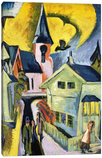 Konigstein with Red Church; Konigstein mit roter Kirche, 1916  Canvas Art Print