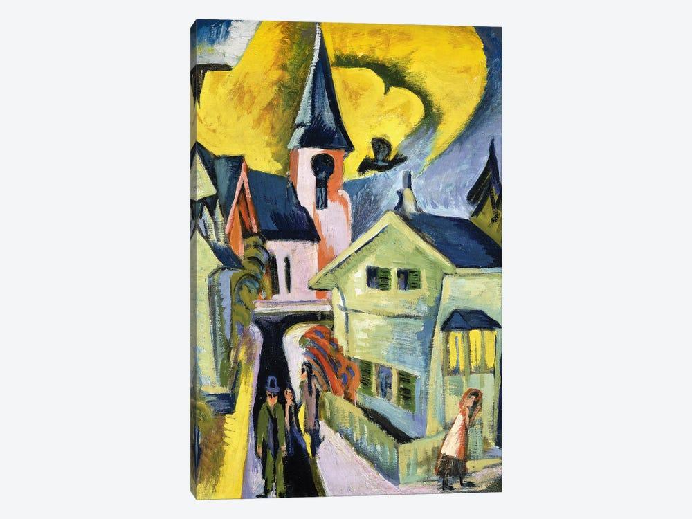 Konigstein with Red Church; Konigstein mit roter Kirche, 1916  by Ernst Ludwig Kirchner 1-piece Canvas Art Print