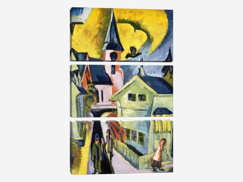 Konigstein with Red Church; Konigstein mit roter Kirche, 1916  by Ernst Ludwig Kirchner 3-piece Canvas Art Print