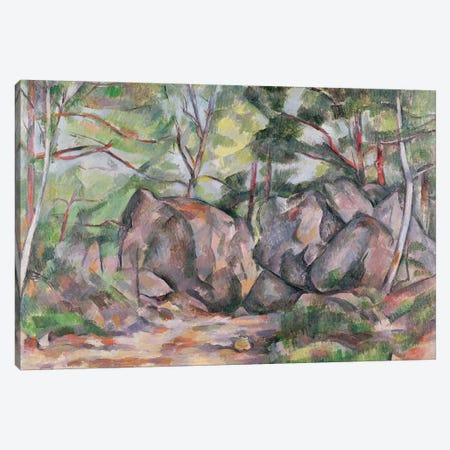Woodland with Boulders, 1893  Canvas Print #BMN593} by Paul Cezanne Canvas Artwork