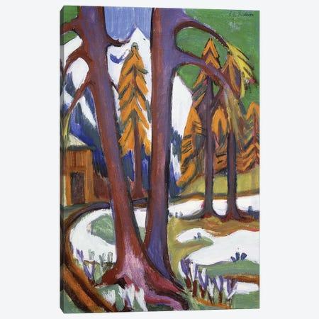 Mountain-Early Spring with Larchen; Berg-Vorfruhling mit Larchen, c.1921-1923  Canvas Print #BMN5940} by Ernst Ludwig Kirchner Canvas Artwork
