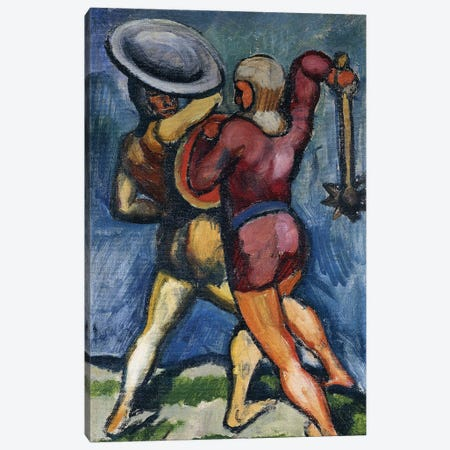 Two Warriors; Zwei Kampfende, 1910  Canvas Print #BMN5941} by August Macke Canvas Art