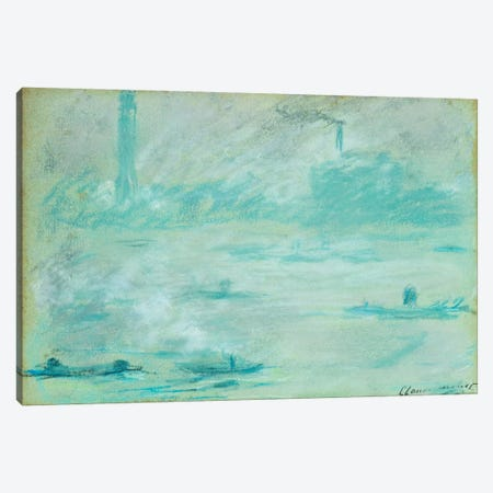 London, Boats on the Thames; Londres, Bateaux sur la Tamise, 1901  Canvas Print #BMN5942} by Claude Monet Canvas Wall Art