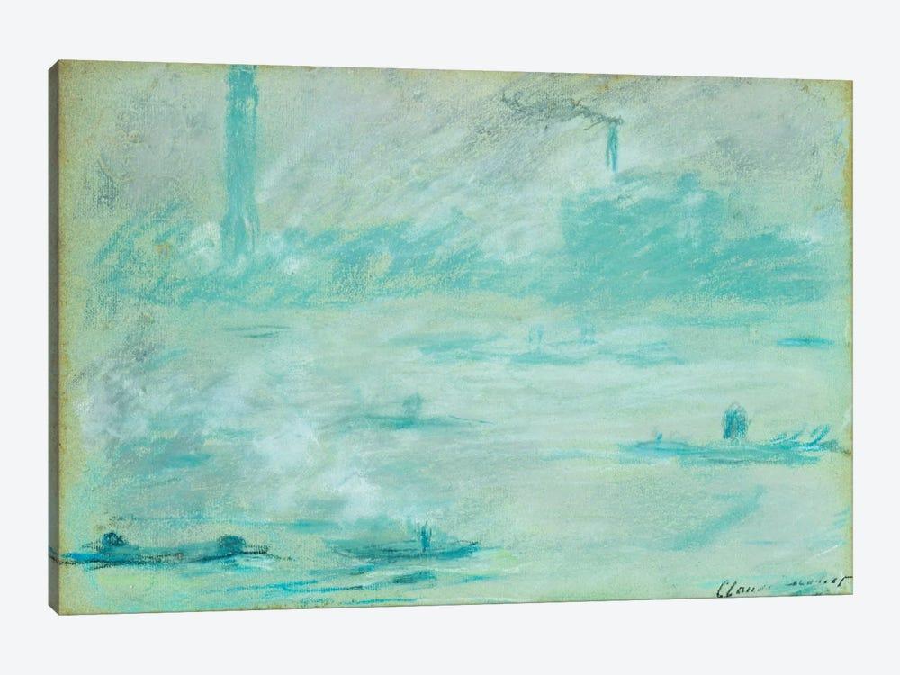 London, Boats on the Thames; Londres, Bateaux sur la Tamise, 1901  by Claude Monet 1-piece Canvas Art Print