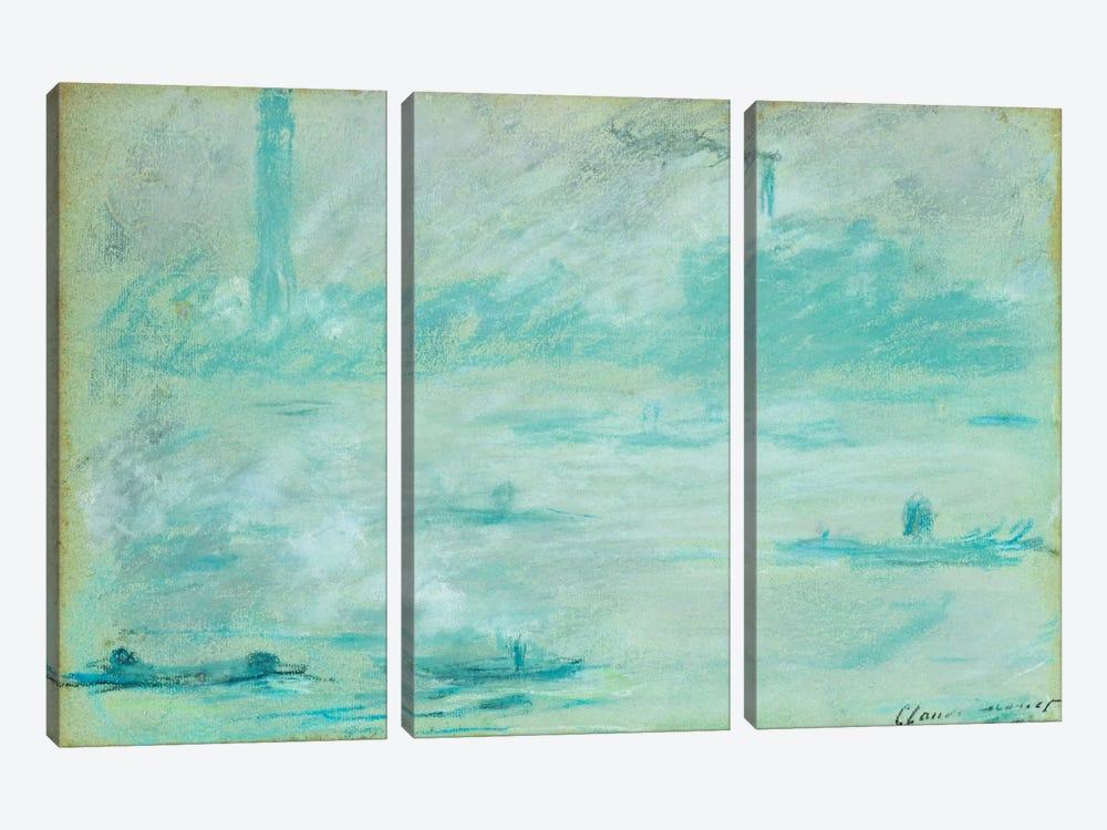 London, Boats on the Thames; Londres, Bateaux sur la Tamise, 1901  by Claude Monet 3-piece Canvas Art Print