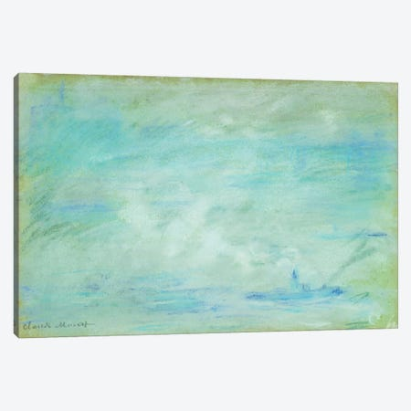 Boat on the Thames, haze effect; Bateau sur la Tamise, effet de brume, 1901  Canvas Print #BMN5943} by Claude Monet Canvas Wall Art