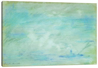 Boat on the Thames, haze effect; Bateau sur la Tamise, effet de brume, 1901 Canvas Art Print