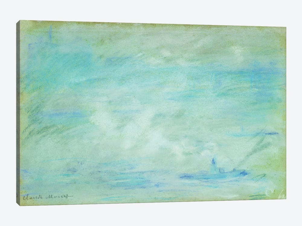 Boat on the Thames, haze effect; Bateau sur la Tamise, effet de brume, 1901  by Claude Monet 1-piece Canvas Wall Art
