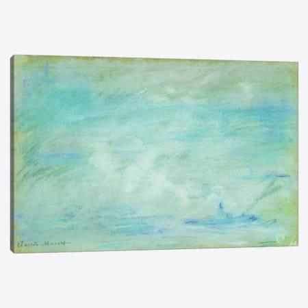 Boat on the Thames, haze effect; Bateau sur la Tamise, effet de brume, 1901  3-Piece Canvas #BMN5943} by Claude Monet Canvas Wall Art