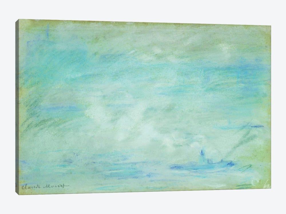 Boat on the Thames, haze effect; Bateau sur la Tamise, effet de brume, 1901  by Claude Monet 1-piece Canvas Wall Art