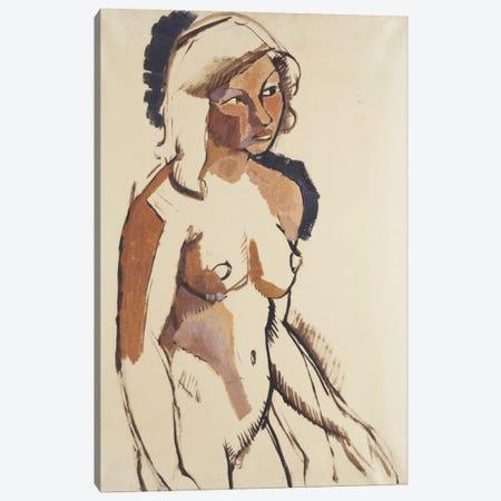 The Italian Girl, three quarter length, Looking to the Right; L'Italienne, de Trois Quarts Regardant vers la Droite, c.1910-11  Canvas Print #BMN5944} by Roger de la Fresnaye Canvas Print