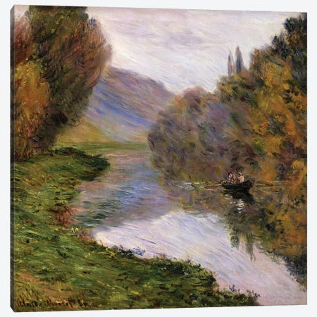 Boat on the Seine near Jeufosse,  Canvas Print #BMN5945} by Claude Monet Canvas Print