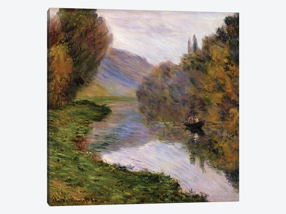 Boat on the Seine near Jeufosse,  by Claude Monet 1-piece Canvas Wall Art