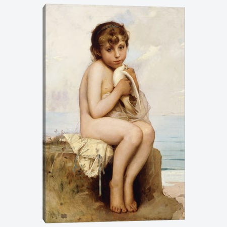 Nude Child with Dove,  Canvas Print #BMN5948} by Leon Bazile Perrault Canvas Artwork