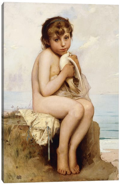 Nude Child with Dove,  Canvas Art Print