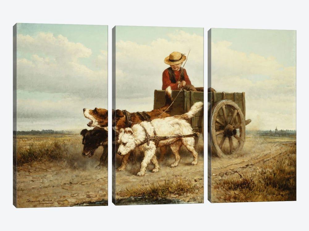The Dog Cart by Henriette Ronner-Knip 3-piece Canvas Artwork