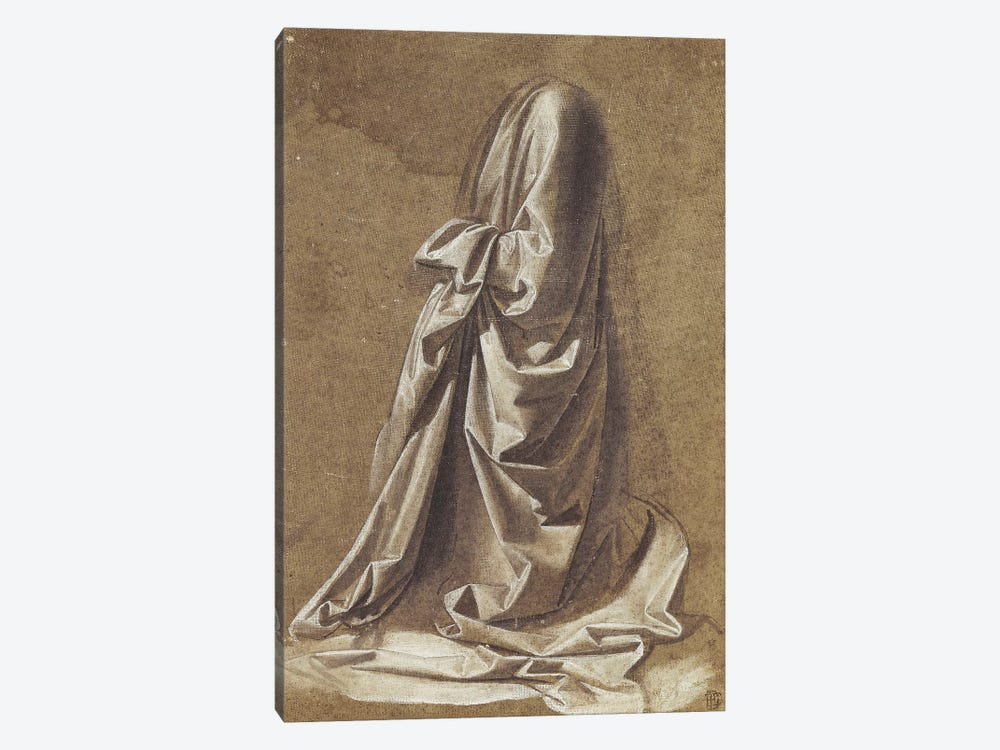 Drapery Study for a kneeling figure,  by Leonardo da Vinci 1-piece Canvas Print