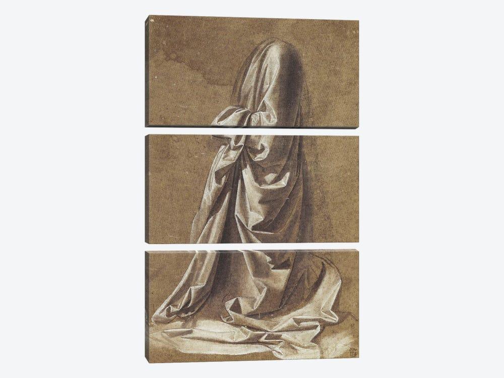 Drapery Study for a kneeling figure,  by Leonardo da Vinci 3-piece Art Print