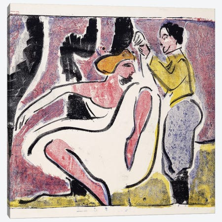 Russian Dancers; Russisches Tanzerpaar,  Canvas Print #BMN5957} by Ernst Ludwig Kirchner Canvas Wall Art
