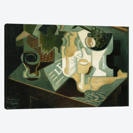 The Table in Front of the Building; La Table Devant le Battiment, 1919  Canvas Print #BMN5958} by Juan Gris Canvas Print
