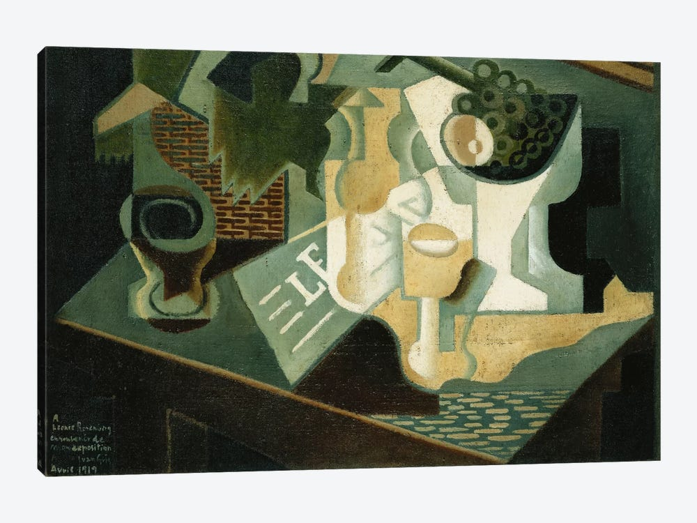 The Table in Front of the Building; La Table Devant le Battiment, 1919  by Juan Gris 1-piece Canvas Wall Art