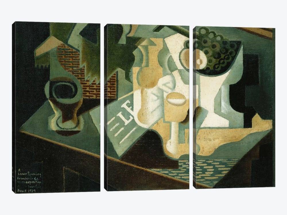The Table in Front of the Building; La Table Devant le Battiment, 1919  by Juan Gris 3-piece Canvas Art