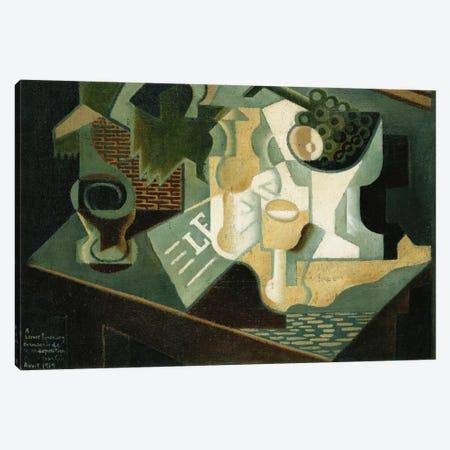 The Table in Front of the Building; La Table Devant le Battiment, 1919  Canvas Print #BMN5958} by Juan Gris Canvas Print