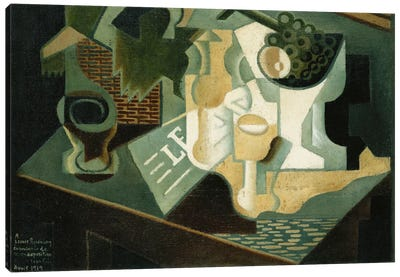 The Table in Front of the Building; La Table Devant le Battiment, 1919  Canvas Art Print