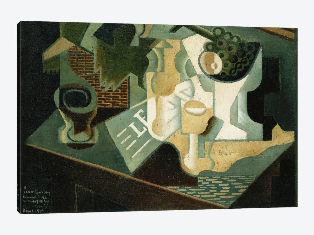 The Table in Front of the Building; La Table Devant le Battiment, 1919  by Juan Gris 1-piece Canvas Wall Art