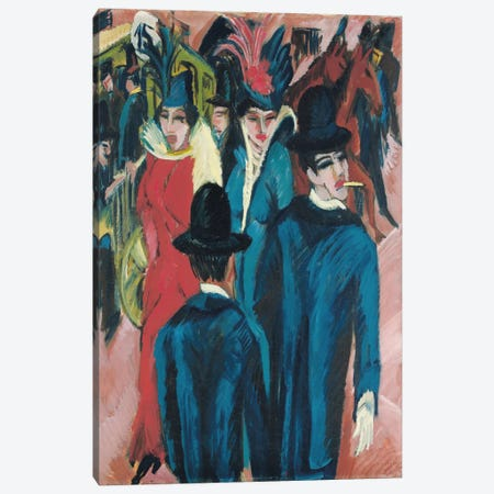 Berlin Street Scene, 1913-14  Canvas Print #BMN5961} by Ernst Ludwig Kirchner Canvas Artwork