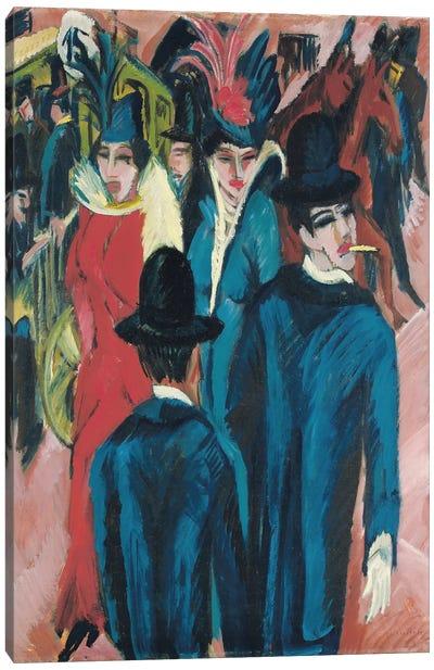 Berlin Street Scene, 1913-14  Canvas Art Print