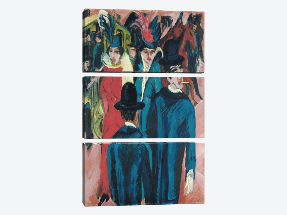 Berlin Street Scene, 1913-14  by Ernst Ludwig Kirchner 3-piece Canvas Art
