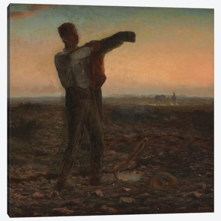 The End of the Day, Effect of Evening  Canvas Print #BMN5963} by Jean-Francois Millet Canvas Wall Art