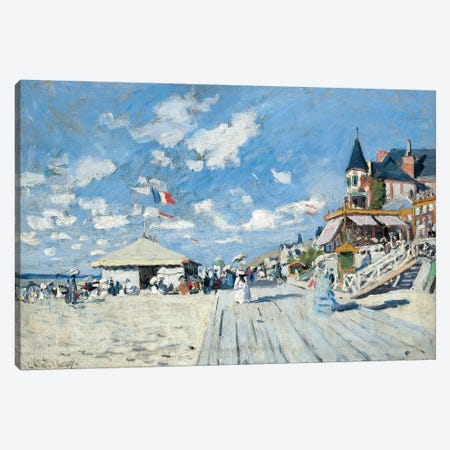 On the Beach at Trouville, 1870  Canvas Print #BMN5968} by Claude Monet Canvas Wall Art