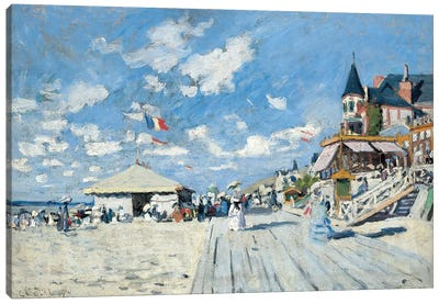 On the Beach at Trouville, 1870  Canvas Art Print