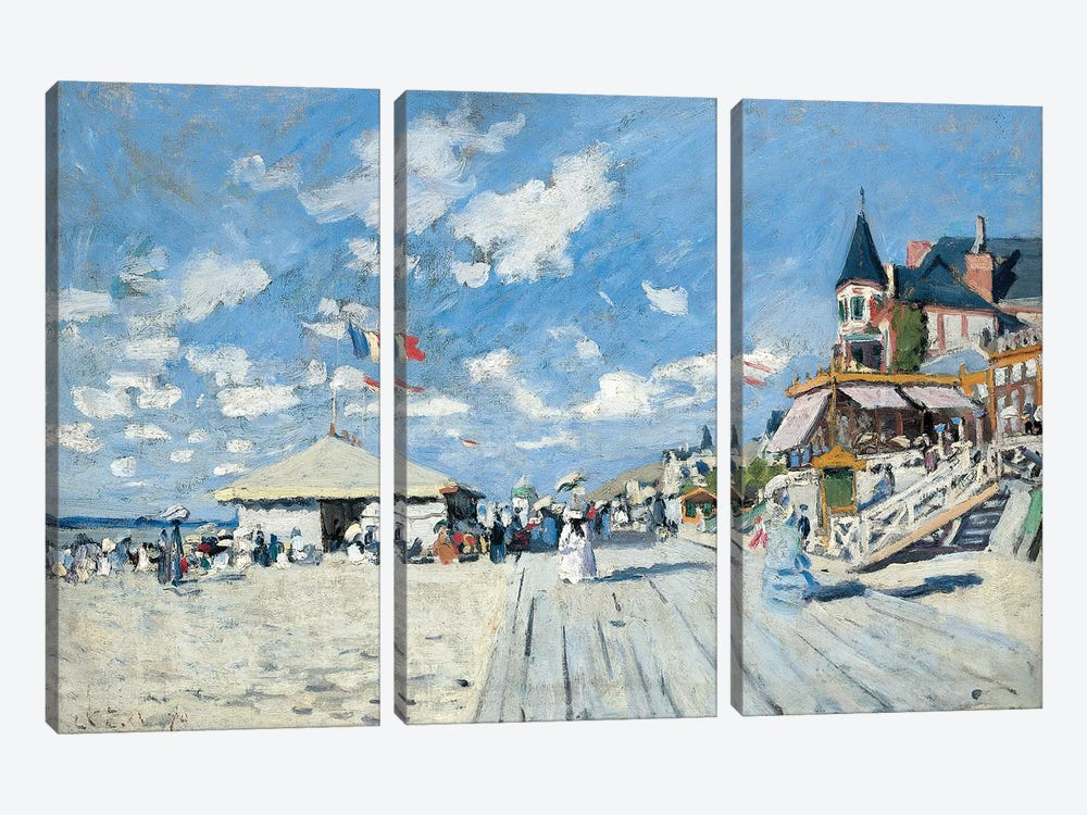 On the Beach at Trouville, 1870  by Claude Monet 3-piece Art Print