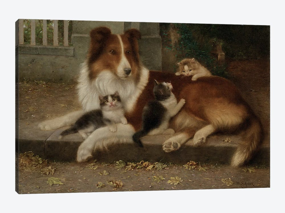 Best of Friends, 1906  by Wilhelm Schwar 1-piece Canvas Art