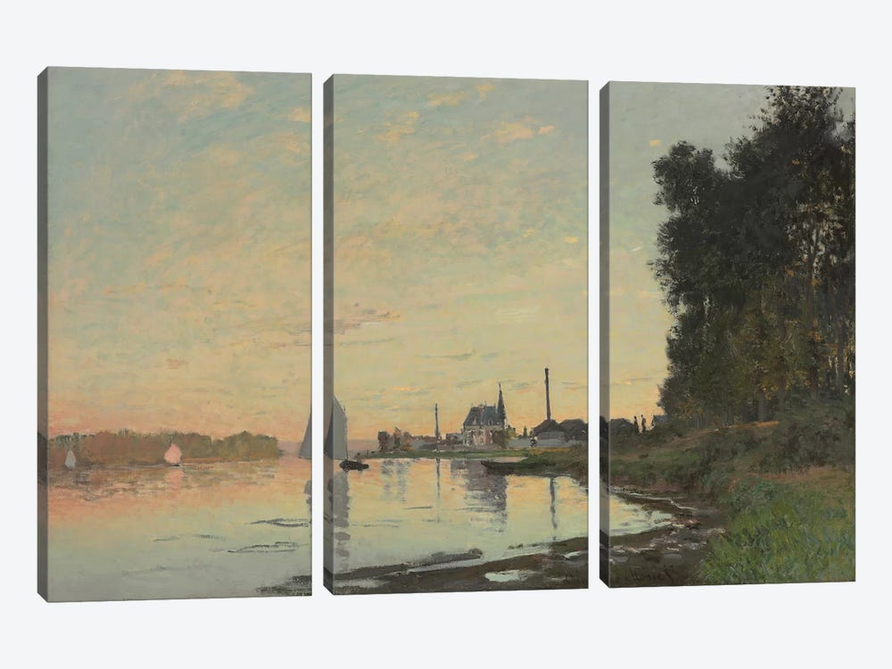 The End of the Afternoon, Argenteuil, 1872 by Claude Monet 3-piece Canvas Print
