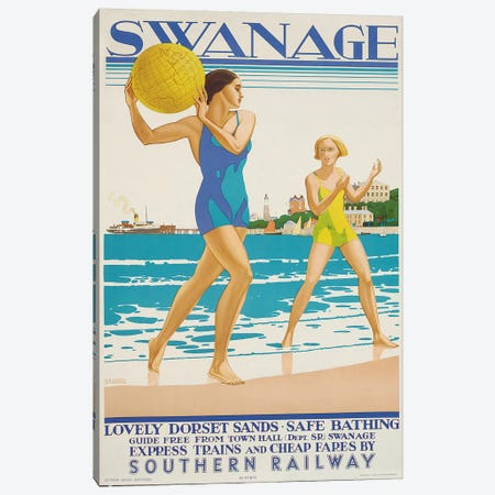 Swanage, 1938  Canvas Print #BMN5976} by Kenneth Shoesmith Canvas Art