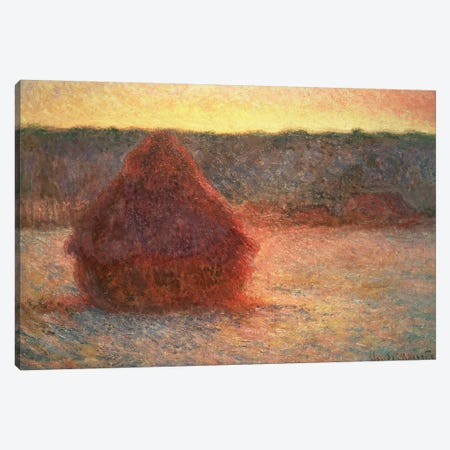 Haystacks at Sunset, Frosty Weather, 1891 Canvas Print #BMN597} by Claude Monet Art Print