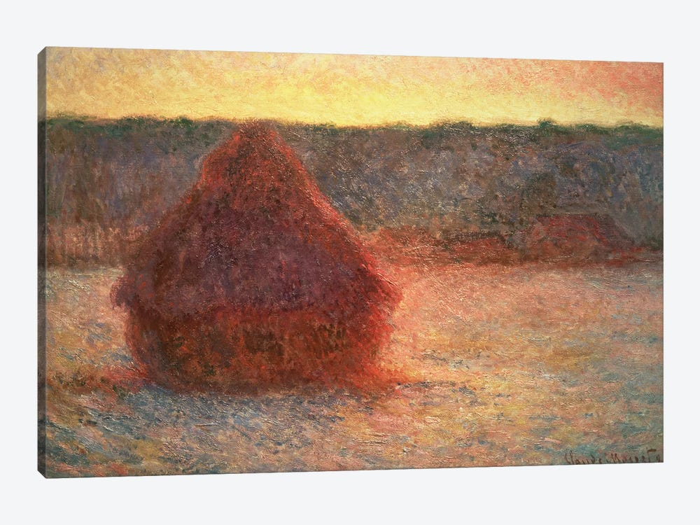 Haystacks at Sunset, Frosty Weather, 1891 by Claude Monet 1-piece Canvas Art Print