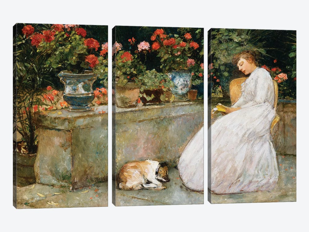 Reading, 1888  by Childe Hassam 3-piece Canvas Art Print