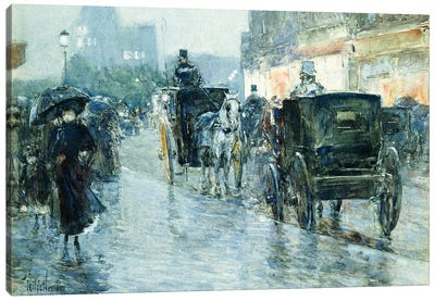 Horse Drawn Cabs at Evening, New York,  Canvas Art Print