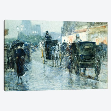 Horse Drawn Cabs at Evening, New York,  Canvas Print #BMN5988} by Childe Hassam Canvas Art