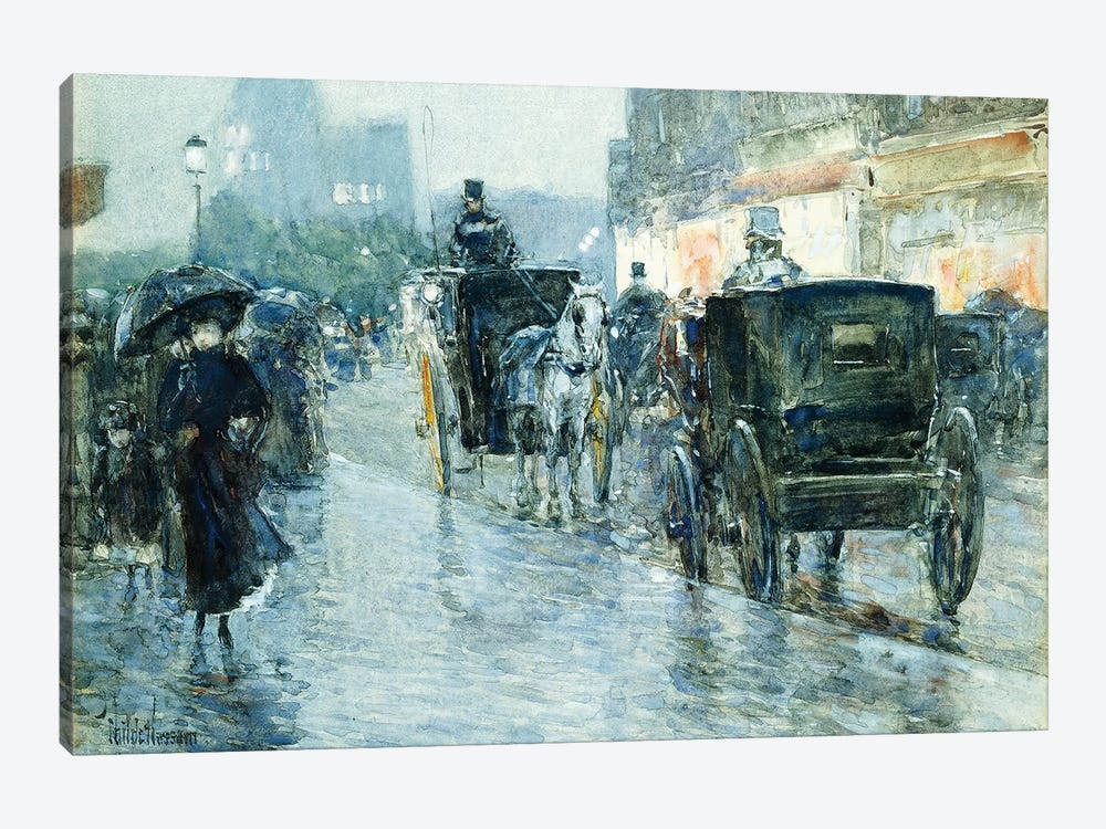 Horse Drawn Cabs at Evening, New York,  by Childe Hassam 1-piece Canvas Art Print