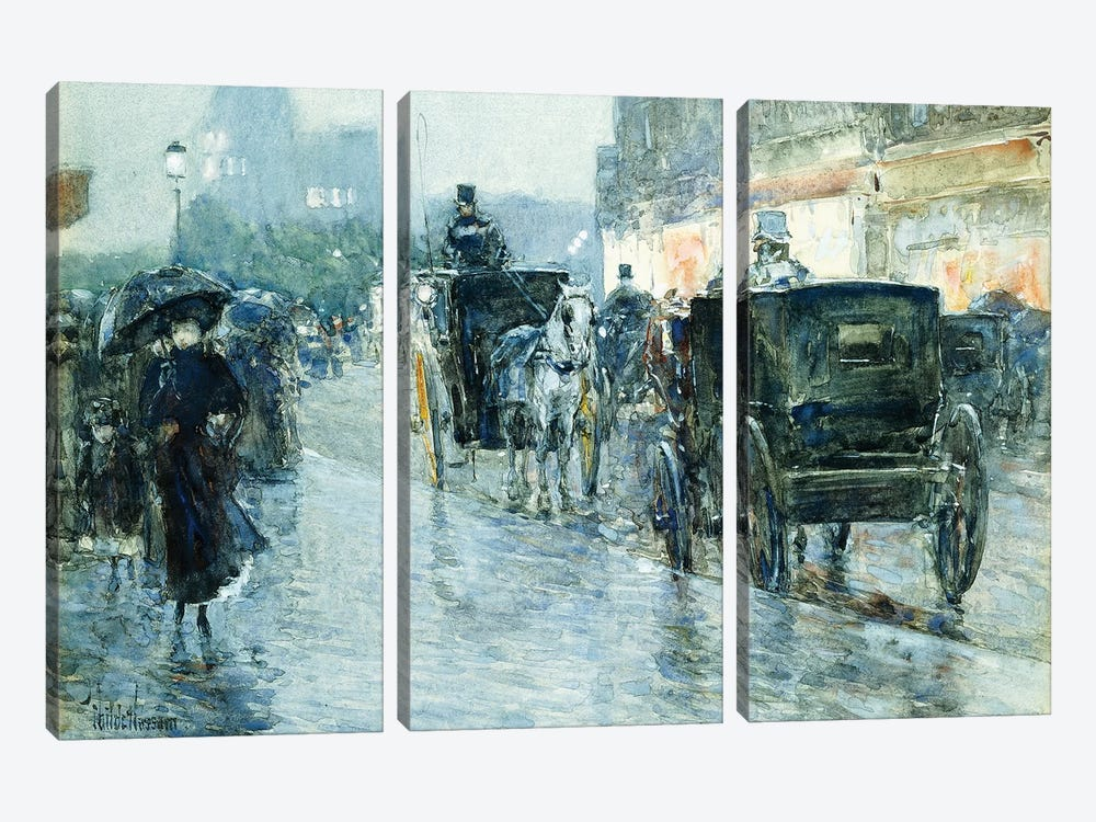 Horse Drawn Cabs at Evening, New York,  by Childe Hassam 3-piece Canvas Art Print