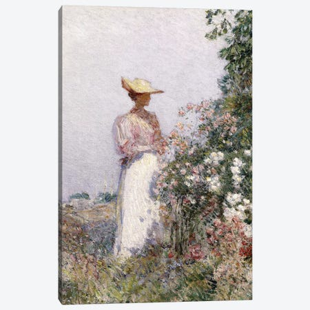 Lady in Flower Garden,  Canvas Print #BMN5993} by Childe Hassam Canvas Art Print