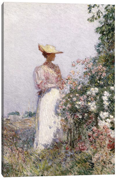 Lady in Flower Garden,  Canvas Art Print