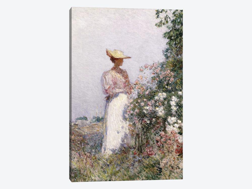 Lady in Flower Garden,  by Childe Hassam 1-piece Art Print