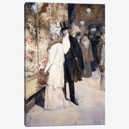 A New Year's Nocturne, New York, 1892  Canvas Print #BMN5994} by Childe Hassam Canvas Artwork